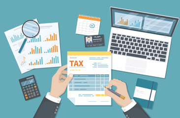 Tax payment concept. State Government taxation, calculation of tax return. Man fills the tax form, documents, calendar, calculator, laptop. Pay the bills, invoices, payrolls. Vector illustration.