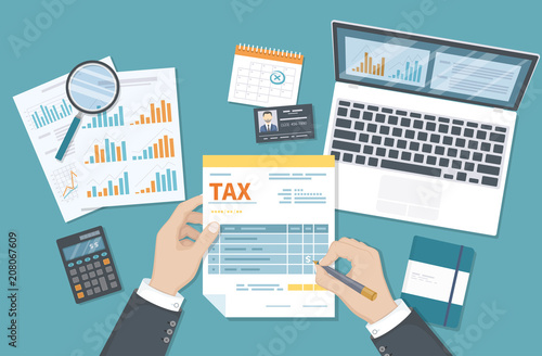 Tax payment concept  State Government taxation, calculation