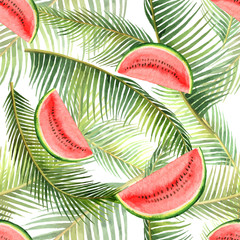 Watercolor vector seamless pattern tropical leaves and slice of watermelon isolated on white background.
