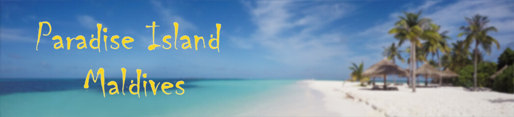 Tropical Beach Paradise. Island Of Maldives in Indian Ocean Blurred Background
