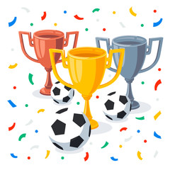 Gold, silver and bronze trophy cup in flat cartoon style. Winner cups, football balls and confetti on white background. 1st, 2nd, 3rd place Sport goblet. Football soccer championship.