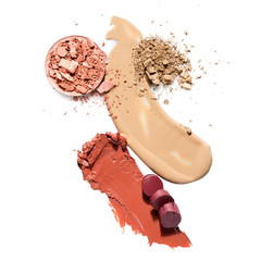 Cosmetic swatch / Creative concept photo of cosmetics swatches on white background.