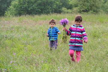 Zwei Geschwister laufen über die Wiese pflücken Blumen