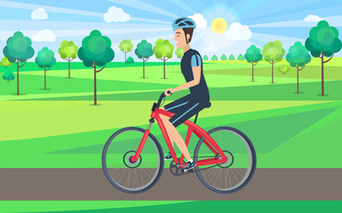 Man on Bicycle View from Left Illustration