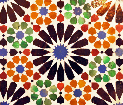 Close-up of islamic tiles. Palace of the Alhambra in Granada, Andalusia, Spain
