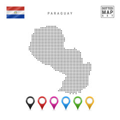 Vector Dotted Map of Paraguay. Simple Silhouette of Paraguay. National Flag of Paraguay. Set of Multicolored Map Markers