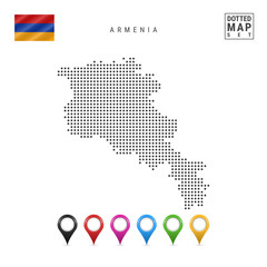 Vector Dotted Map of Armenia. Simple Silhouette of Armenia. National Flag of Armenia. Set of Multicolored Map Markers