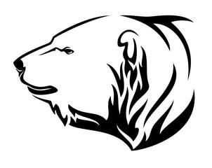 polar bear (ursus maritimus) profile head - black and white animal vector design