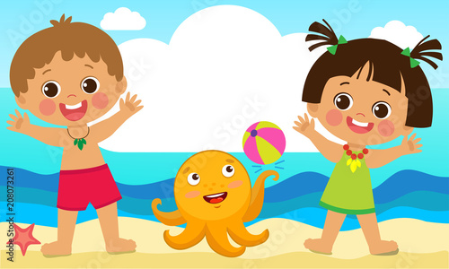 "Happy Summer Holidays Background Vector: ""Fun Summer Activities For Kids. Summer Kids Vector. Happy"