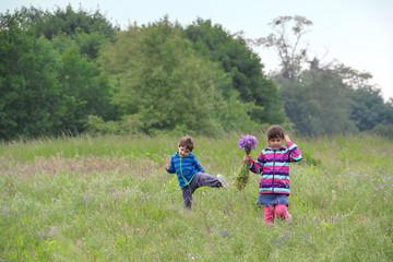 Blumen für Mutti: Zwei Geschwister pflücken Blumen auf der Wiese