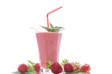 strawberry fresh sweet smoothies in a glass