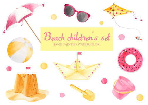 Children's beach set with watercolor. A ball, a kite, an inflatable krgu, a sand castle, an umbrella, a bucket, sunglasses, a scoop, a paper boat.
