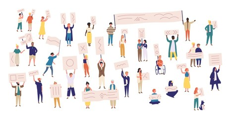 Crowd of protesting people holding banners and placards. Men and women taking part in political meeting, parade or rally. Group of male and female protesters or activists. Vector illustration. Wall mural