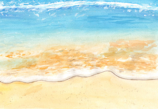 Sea shore watercolor. A beach with light waves. Hand-drawn summer illustration.