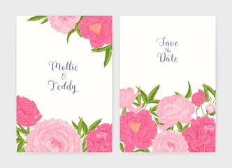 Bundle of wedding invitation and Save The Date card templates decorated with tender blooming pink peony flowers. Beautiful floral vector illustration in elegant vintage style for event celebration.