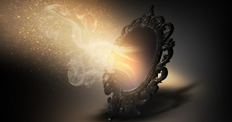 Mirror magical, fortune telling and fulfillment of desires. Wall mural
