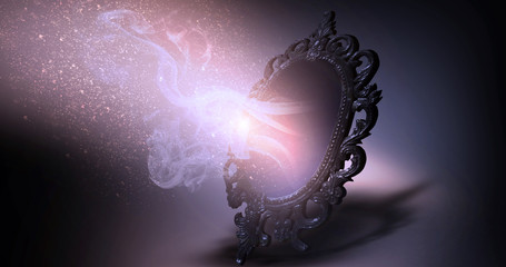 Mirror magical, fortune telling and fulfillment of desires.