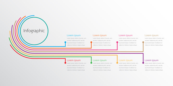 Vector infographic templates used for detailed reports. All 8 topics.