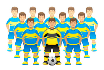 Football team on a white background