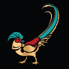 Stylized Golden Pheasant on black background as logo or icon template.