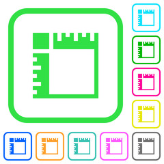 Canvas rulers vivid colored flat icons