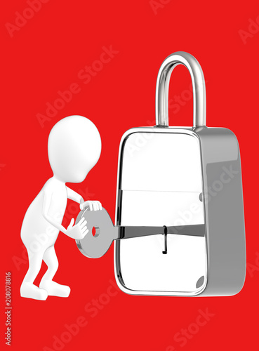 3d white character insterting a key in to a lock , unlocking