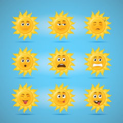 Sun emoticons second set of cartoon illustrations