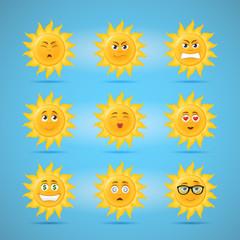 Sun emoticons third set of cartoon illustrations