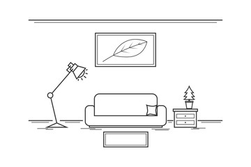Interior living room.outline concept with white color.furniture and accessory in room.vector and illustration