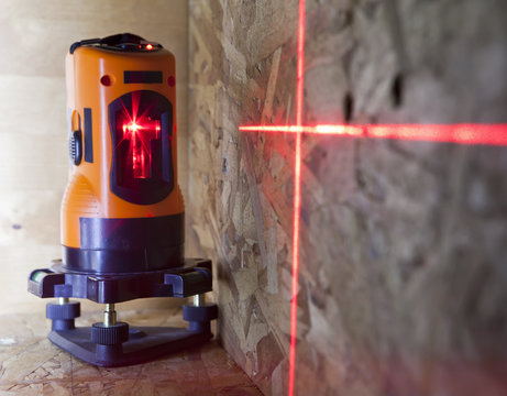 laser measurement level for construction works, small depth of sharpness