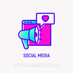 Social media thin line icon: bullhorn, speech bubble with heart on web page. Modern vector illustration.