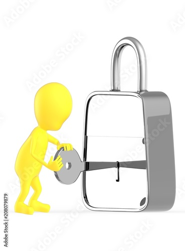 3d yellow character insterting a key in to a lock unlocking