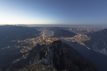 Overview of Lecco at sunrise from Monte Coltignone, Lombardy, Italy, Europe