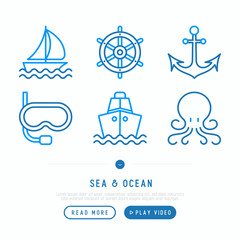 Sea and ocean journey thin line icons set: sailboat, ship, anchor, octopus, steering wheel, snorkel. Modern vector illustration.