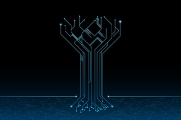 Tree of future in futuristic design concept.Element of digital UI.vector and illustration Wall mural