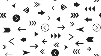 Seamless Modern Monochrome Pattern With Arrows. Most Popular Black Arrows On White Background