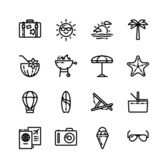 Vector summer holidays icon set in trendy linear style