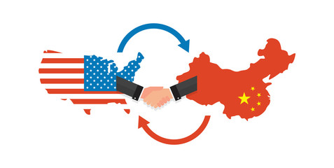 Two businesspeople handshake after good deal. US America and China flags on map. USA and China trade relations, cooperation strategy.
