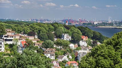 Hamburg Blankenese Hafen Fernsicht Pano