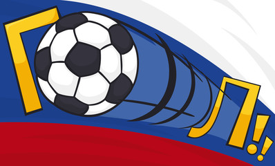 Soccer Ball Scoring a Goal with a Powerful Shot, Vector Illustration