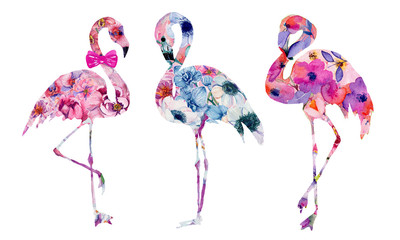 Set of watercolor flamingo with flowers. Hand drawn illustration.