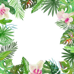 Watercolor Tropical Frame with Flowers and Leaves.