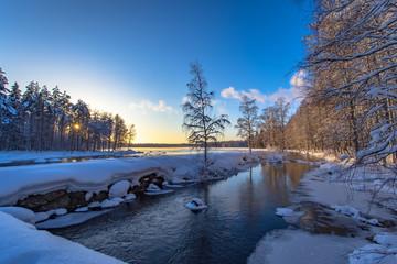 Winter landscape from Pajakka river. Kuhmo, Finland.