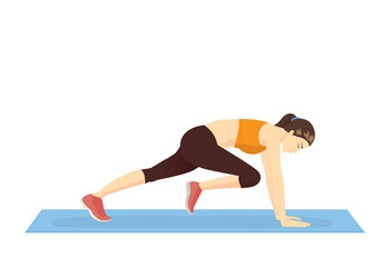 Healthy woman doing the Mountain climber exercise. Illustration about Body weight workout.