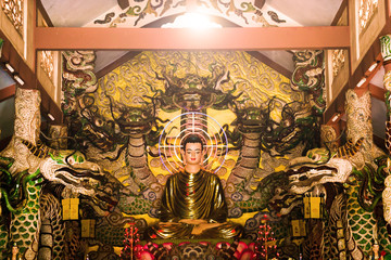 Buddha statue with decoration painting inside temple