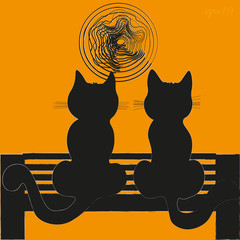 Two cats on a bench
