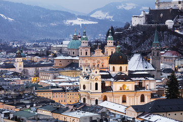 View over the old town, UNESCO World Heritage Site, and Salzburg Cathedral at dusk, Salzburg, Austria, Europe