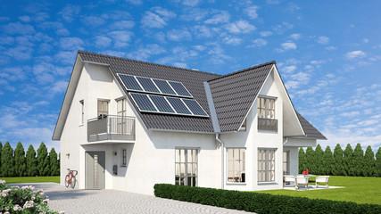 Erneuerbare Energien durch Solaranlage auf Haus