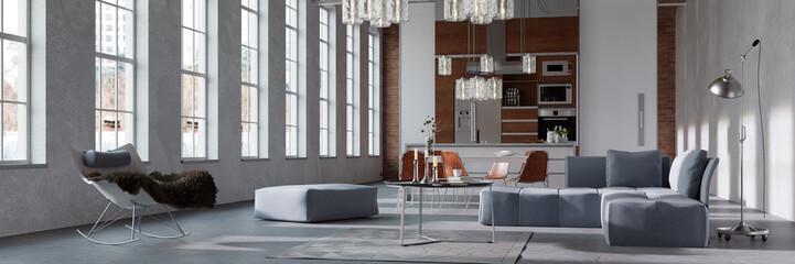 Loft mit Wohnküche als Panorama