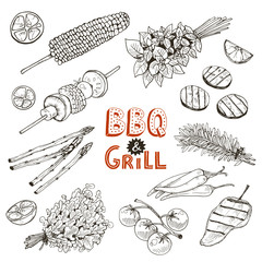 Grill time. Hand drawn bbq vegetables sketches isolated on white background.  Grilled corn, pepper and eggplant slices. Bunch of parsley, rosmary and basil bundles.